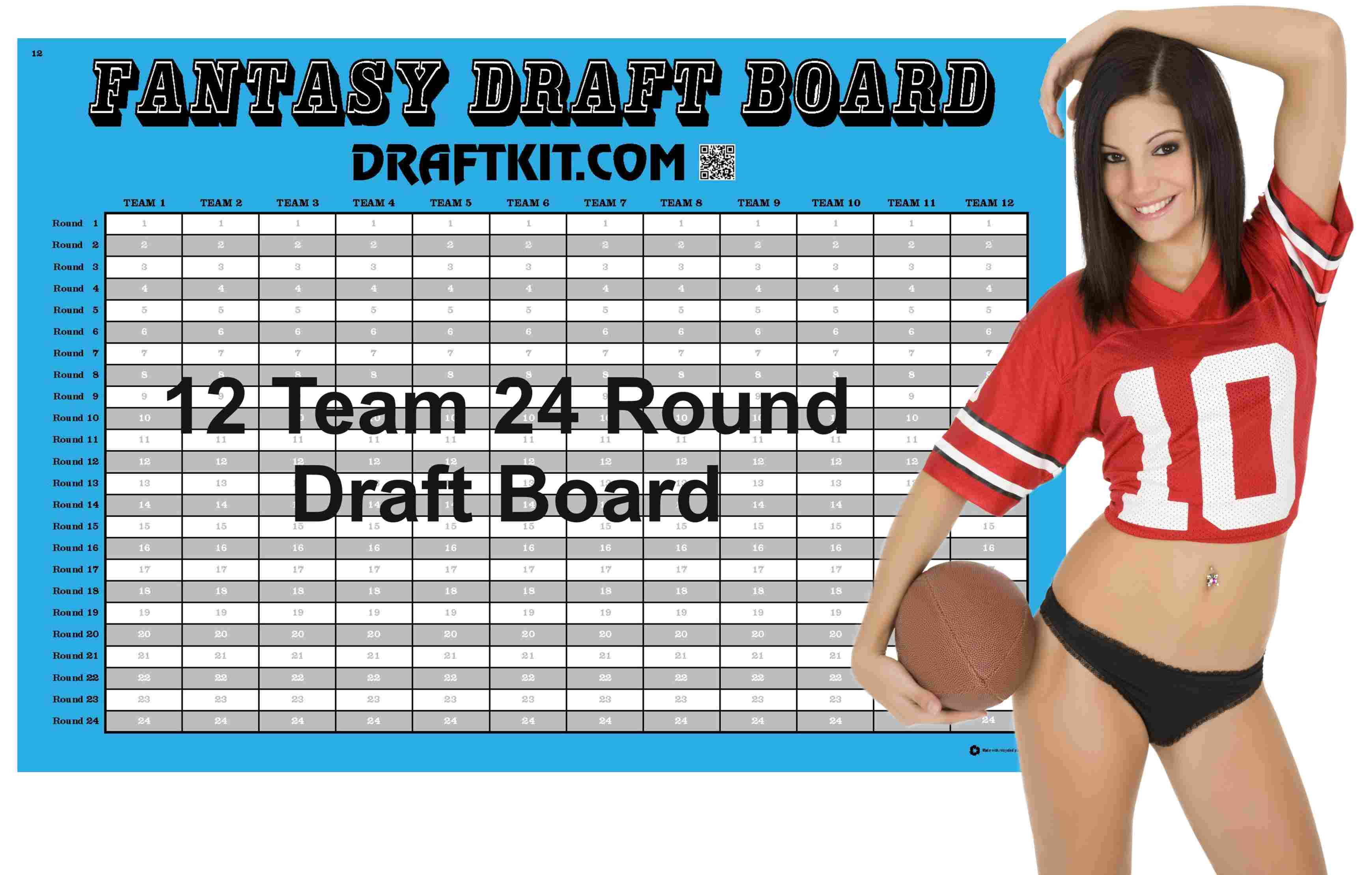 picture about Printable Draft Board referred to as Month-to-month Measurement Myth Soccer Draft Package