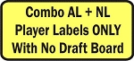 Fantasy Baseball AL + NL Combination Player Labels Only with No Draft Board