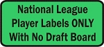 National League Fantasy Baseball Player Labels Only with No Draft Board
